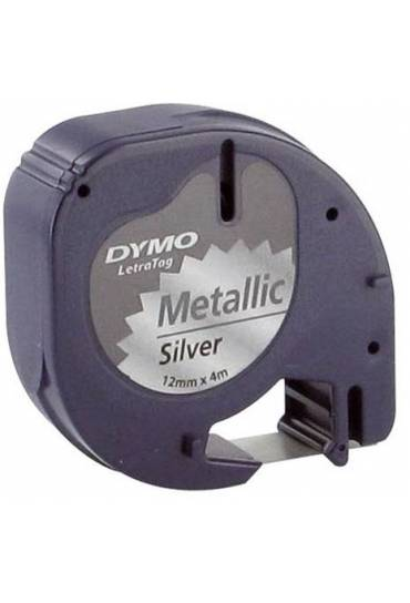 Cinta Dymo Letratag metalica plata