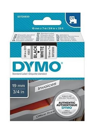 Cinta Dymo D1 19mm x 7m negro sobre blanco 45803