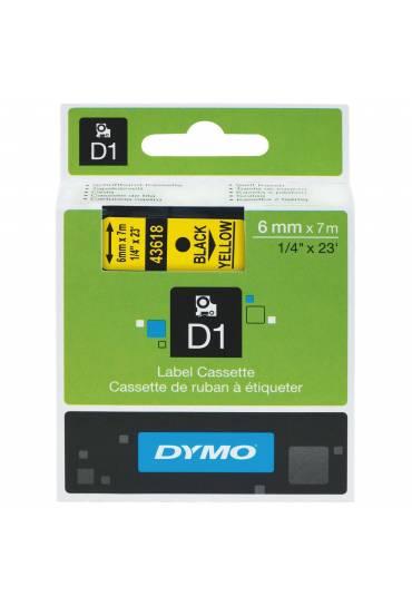 Cinta Dymo D1 6mm x 7m Negro sobre amarillo 43618