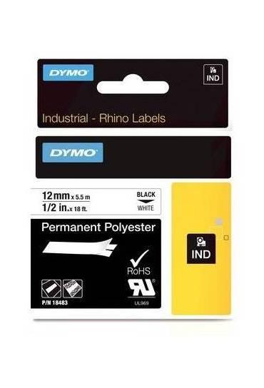 Cinta Dymo rhino poliester 12x5.5mm blanca 18483