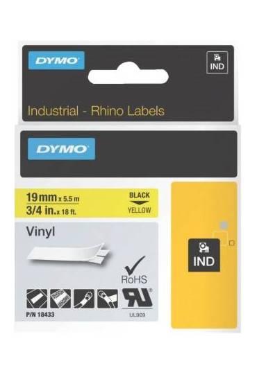 Cinta Dymo rhino vinilo 19x5.5m amarillo