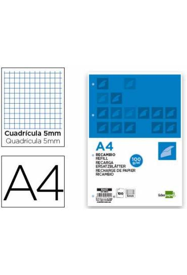 Recambio A4 cuadricula 5 mm 4 taladros 100g Lider