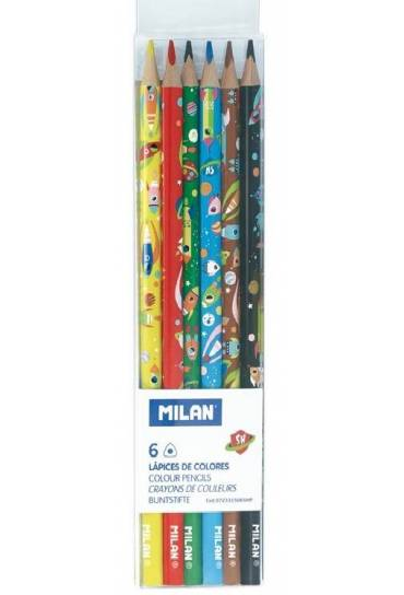 Estuche 6 lapices de colores triangulares Milan