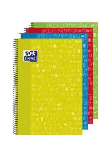 Cuaderno Oxford asignaturas folio colores surtidos