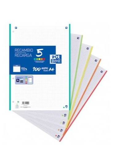 Recambio Oxford 5 colores 100h A4 cuadricula 5x5